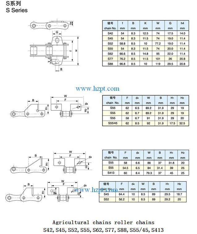 Agricultural chains roller chains S42,S45,S52,S55,S62,S77,S88,S55/45,S413